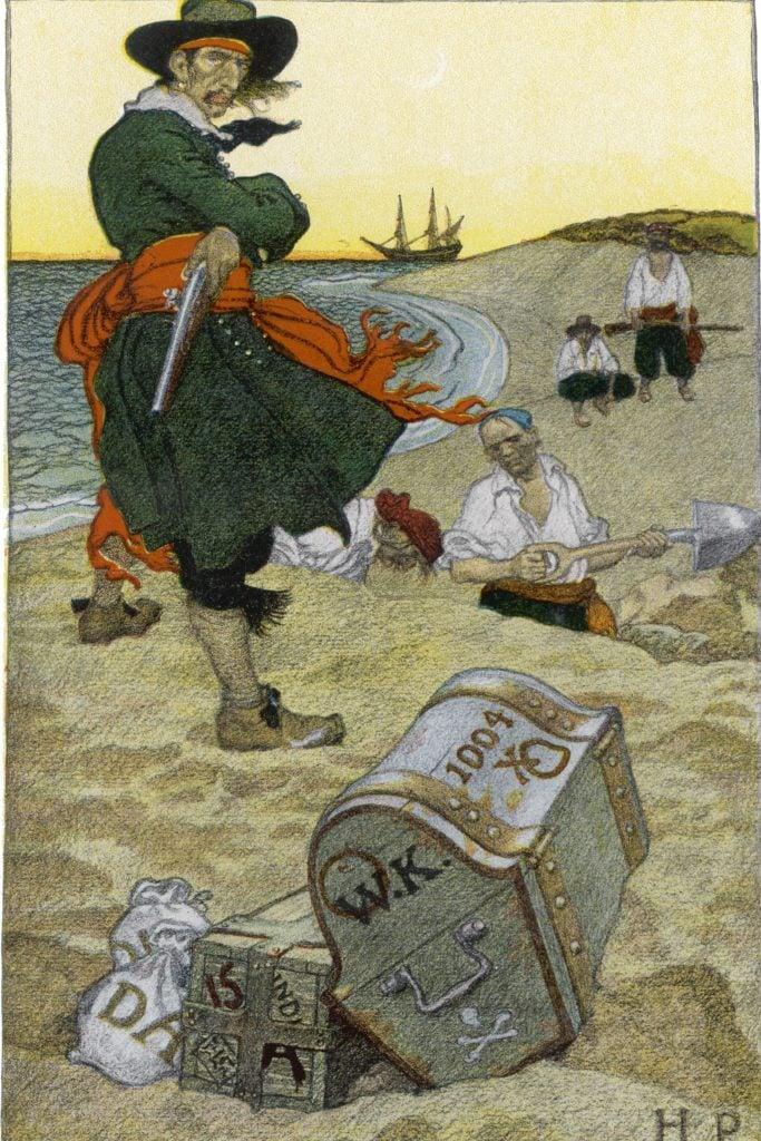Captain Kidd Buries His Treasure 17th century