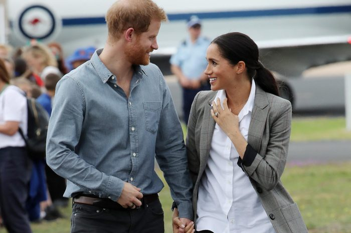 Prince Harry and Meghan Duchess of Sussex at the Royal Flying Doctor Service at Dubbo Airport