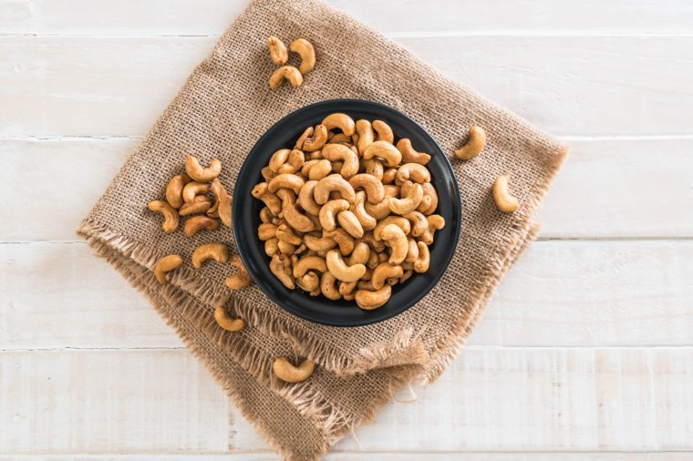 Roasted cashew nuts in bowl