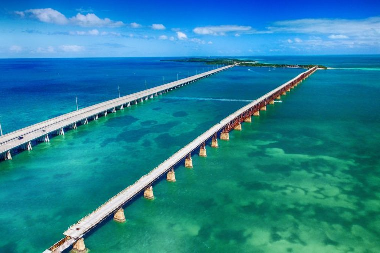 Aerial view of Bridge connecting Keys, Florida.