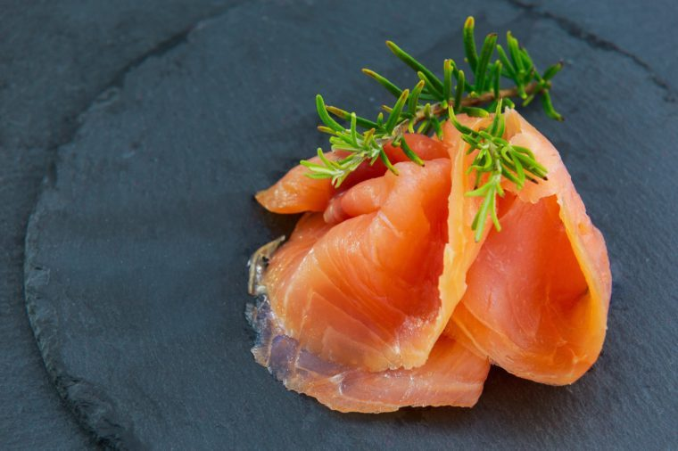 Salted smoked salmon with rosemary,