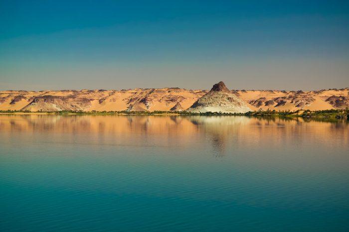 Panoramic view to Teli lake group of Ounianga Serir lakes , Ennedi, Chad