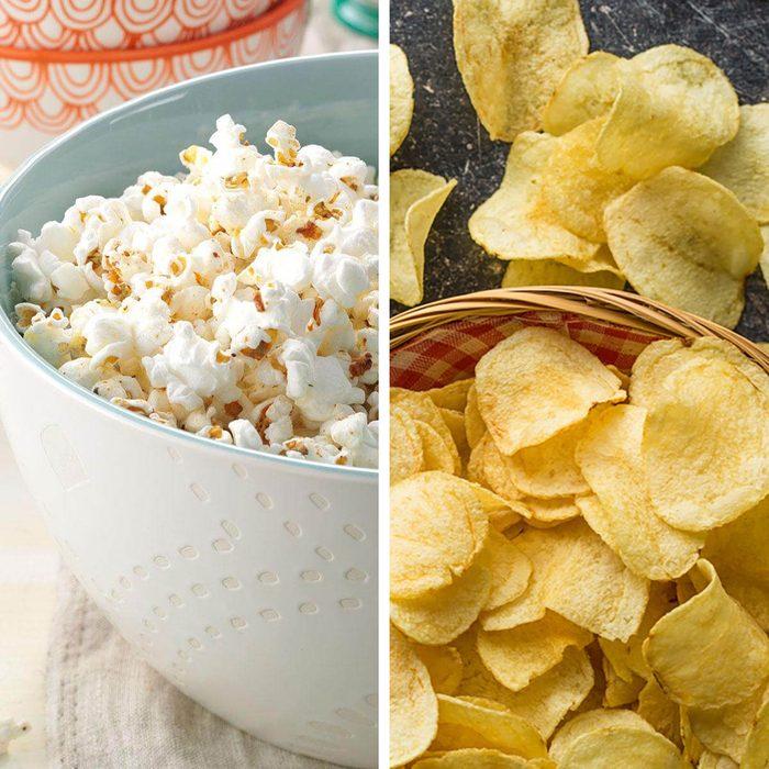 low-sodium foods - Popcorn vs potato chips
