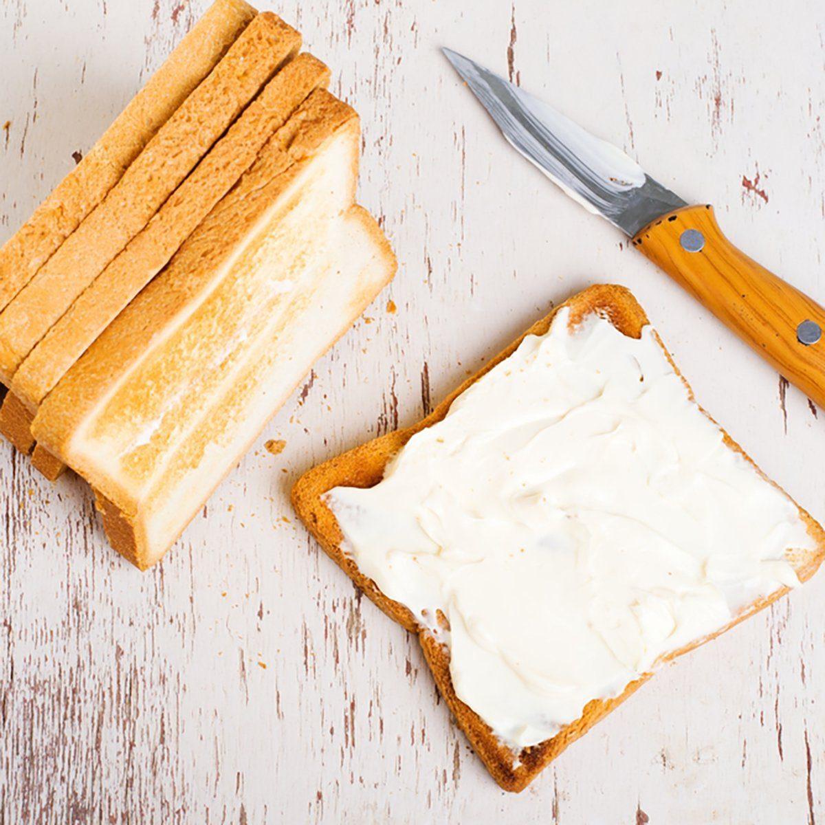 fresh toast with cream cheese
