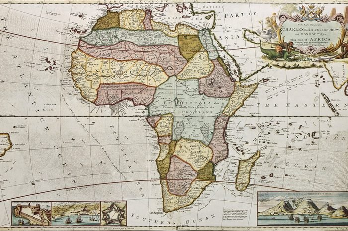 Africa old map. Created by Frederick Herman Moll, published in London, 1710
