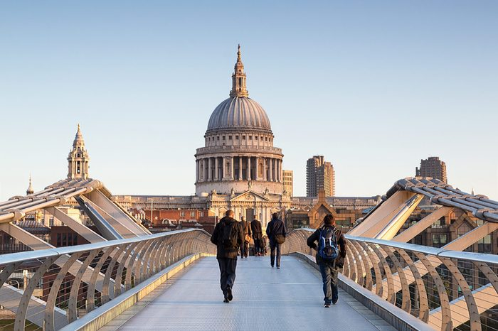 Millenium bridge and St Paul cathedral in London