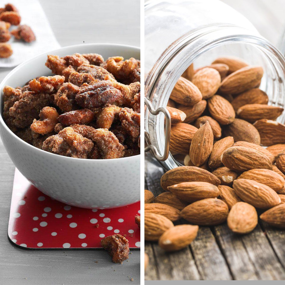 Two different kinds of nuts prepared differently