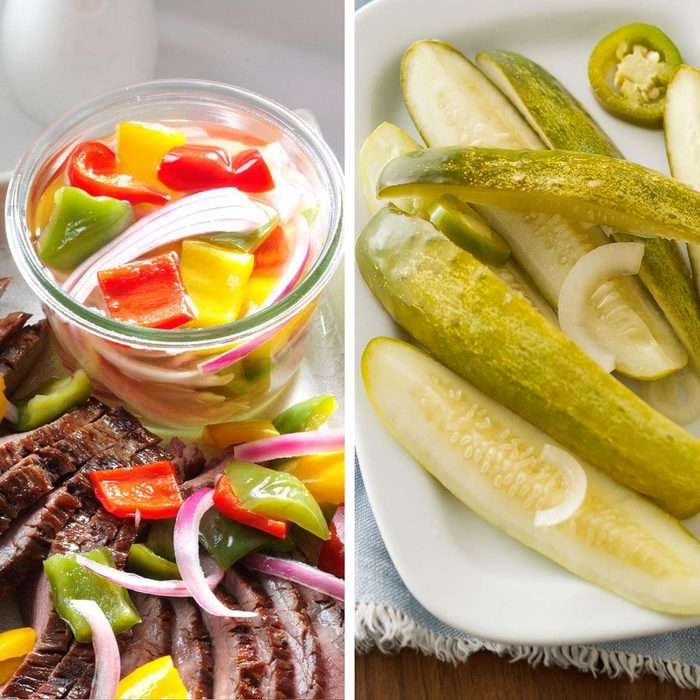Bell pepper pickles and dill pickles