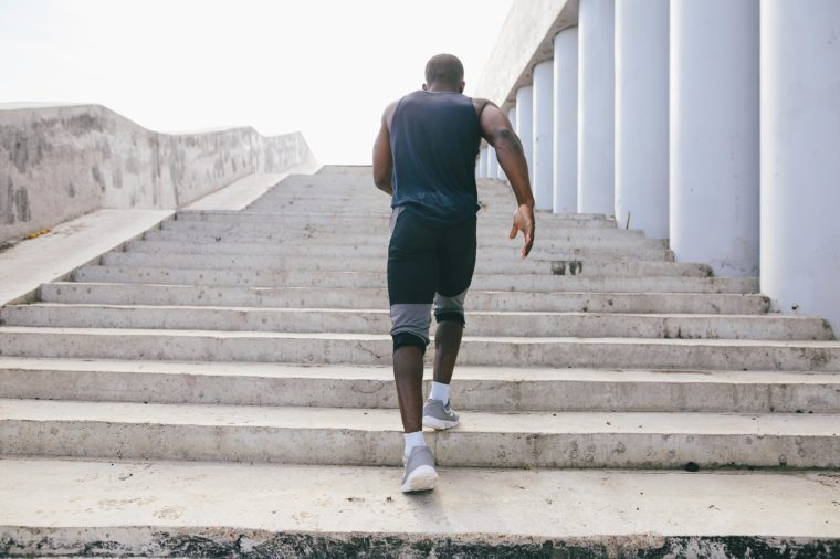 man jogging running stairs exercise workout
