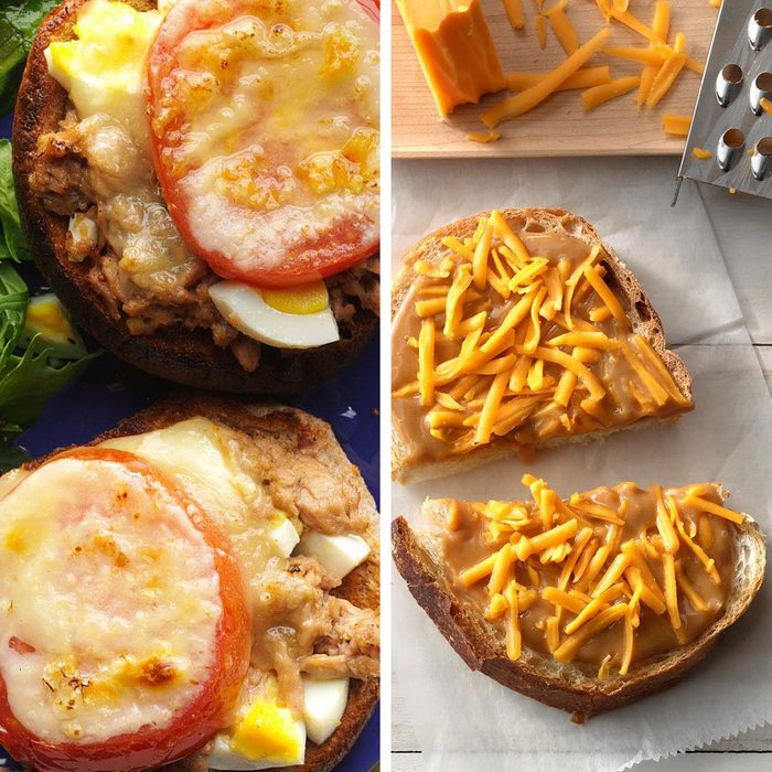 low-sodium foods - Snappy tuna melt and a peanutbutter mayo and cheese sandwich
