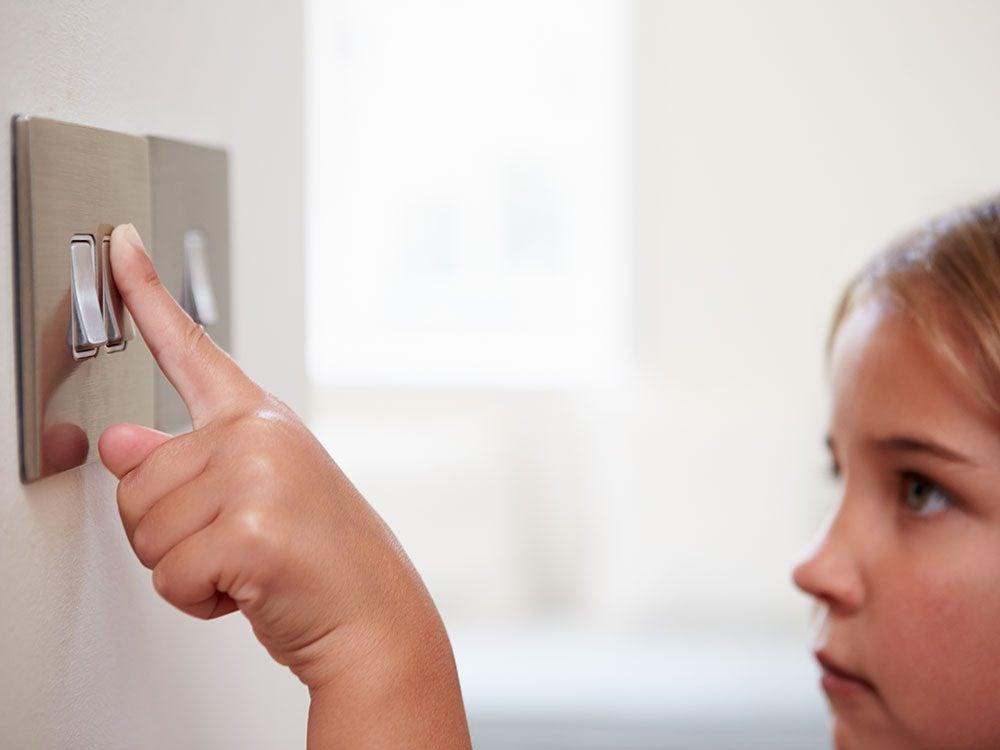 Save on summer utility bills - child light switch