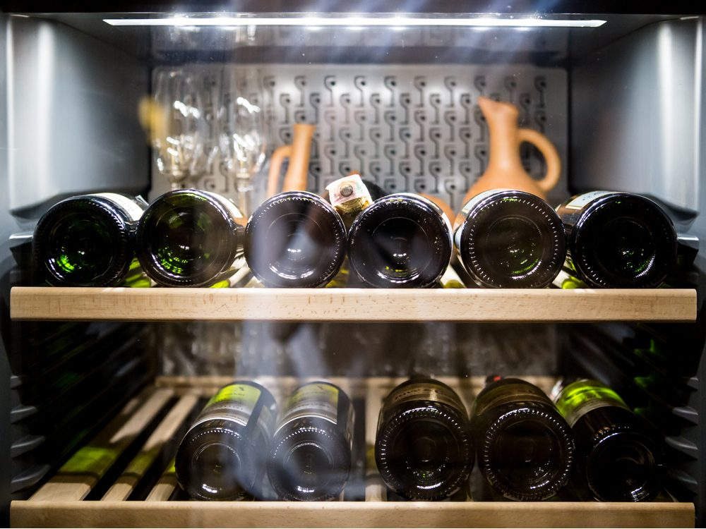 Storing wine in a wine cooler