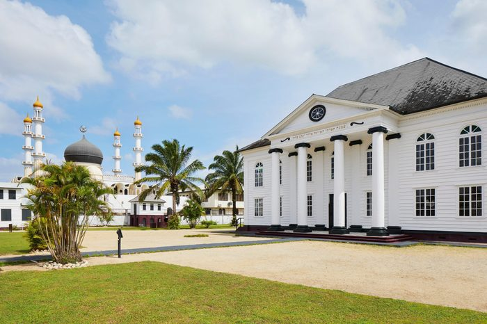 The synagogue Neve Shalom and the Mosque 'Keizerstraat' in Paramaribo, Suriname, South-America