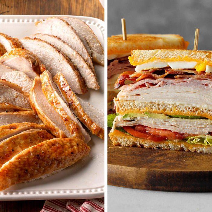 low-sodium foods - Turkey slices next to cobb sandwich