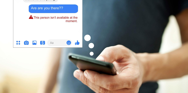 man using phone facebook blocked