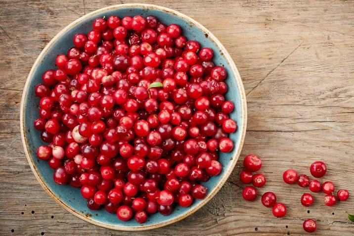 bowl of cowberries on old wooden table