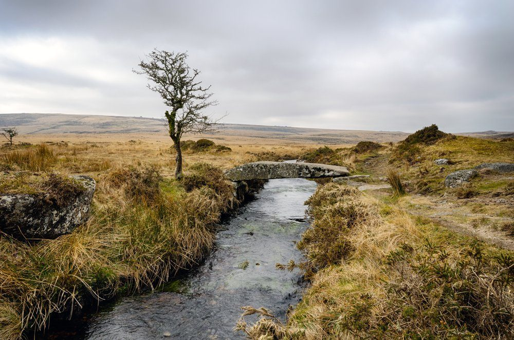 A clam bridge (single clapper bridge) over Walla Brook at Scorhill on Dartmoor National Park