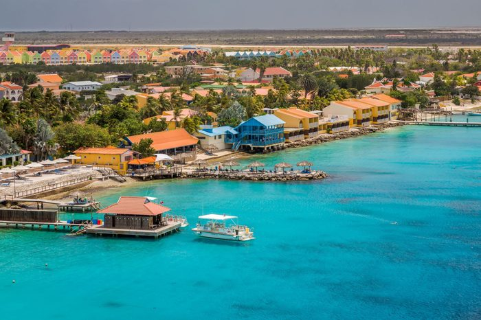 Arriving at Bonaire, capture from Ship at the Capital of Bonaire, Kralendijk in this beautiful island of the Ccaribbean Netherlands, with its paradisiac beaches and water.