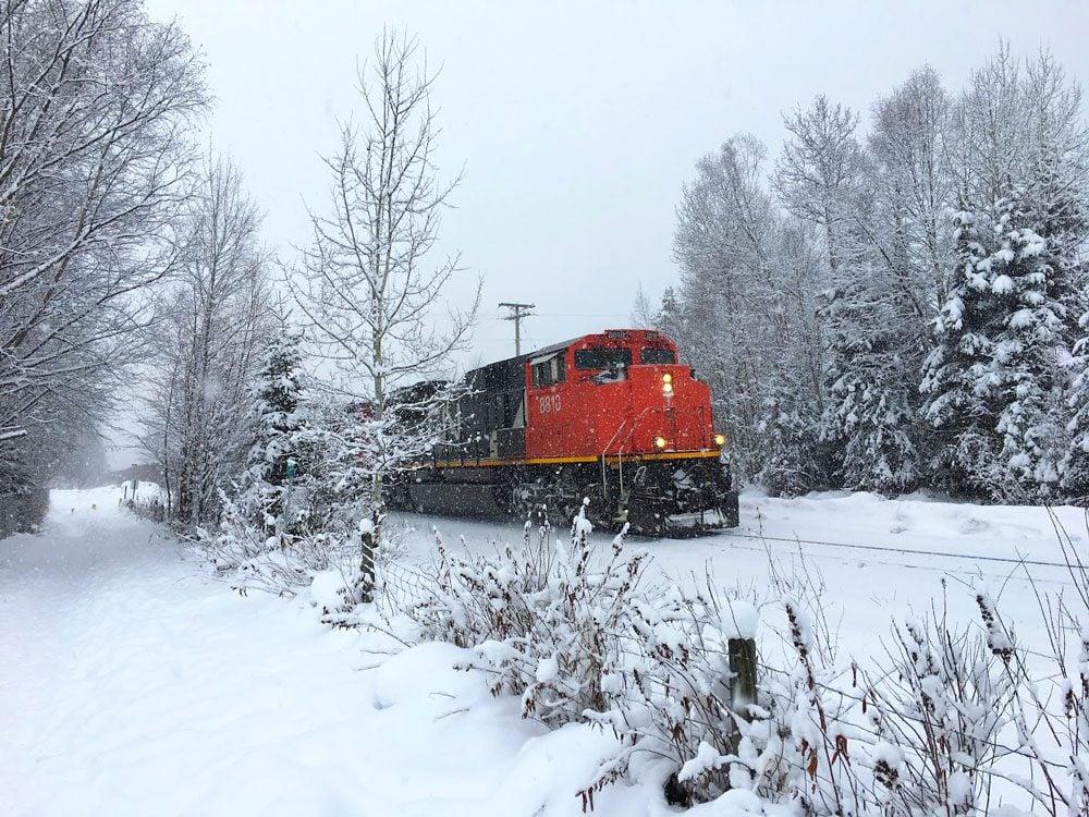 CN train in winter