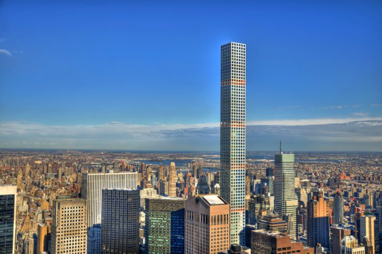 Colorful HDR image of midtown Manhattan, New York City including the 432 Park Avenue building on a clear day