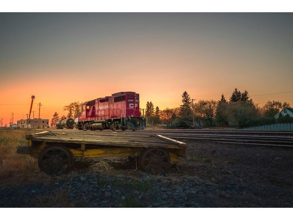 train at sunset in Lloydminster
