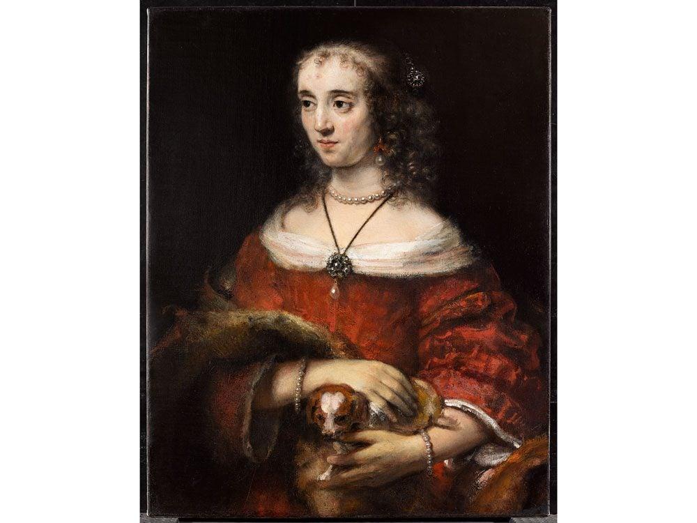 Rembrandt portrait of a lady with lap dog