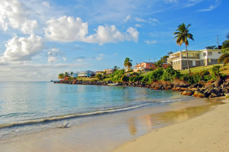 View of Grand Anse beach on Grenada Island, Caribbean region of Lesser Antilles