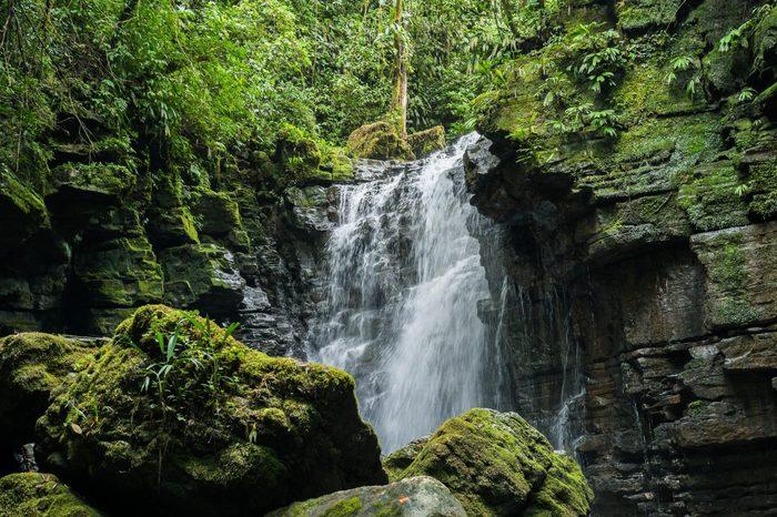 Waterfall and river in Misahualli, Amazon, Ecuador