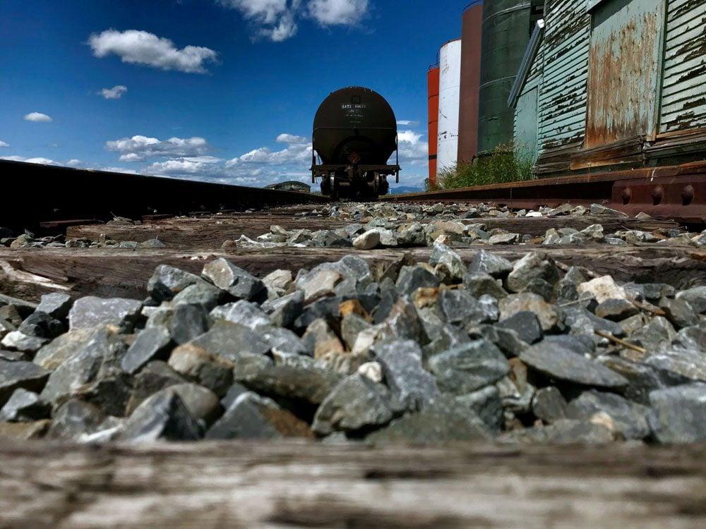 back of black train