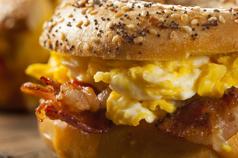 Hearty Breakfast Sandwich on a Bagel with Egg Bacon and Cheese