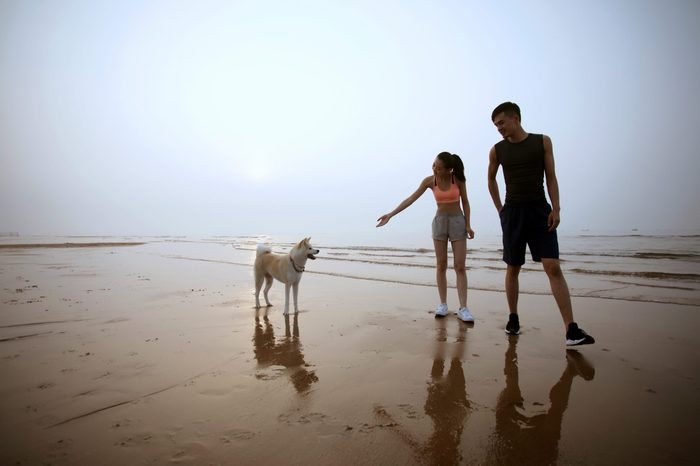 Young Asian couple walking on beach with pet dog.