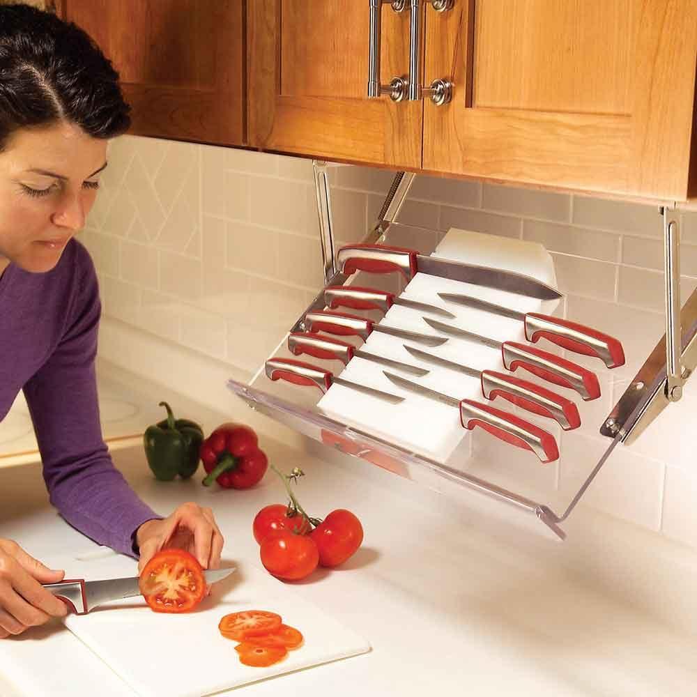 Install under-cabinet storage racks