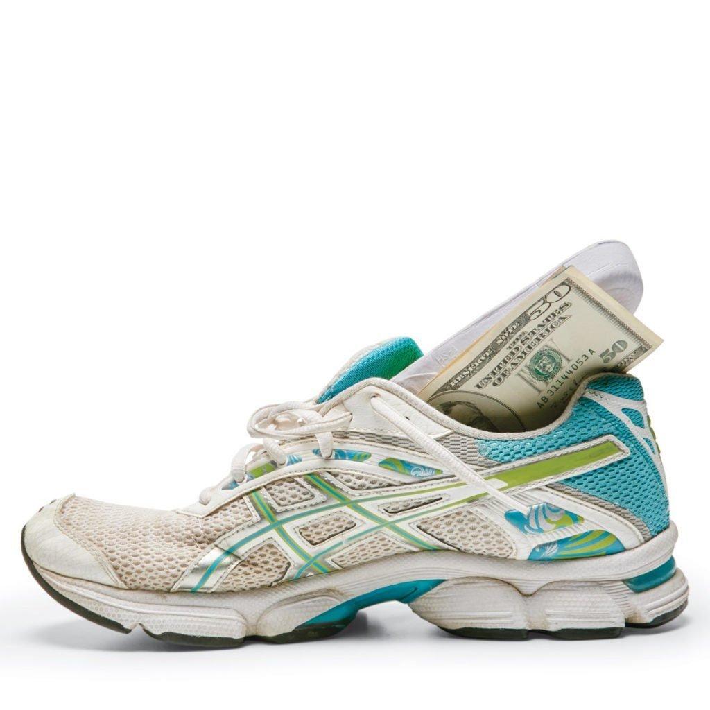 Hiding money in old sneaker