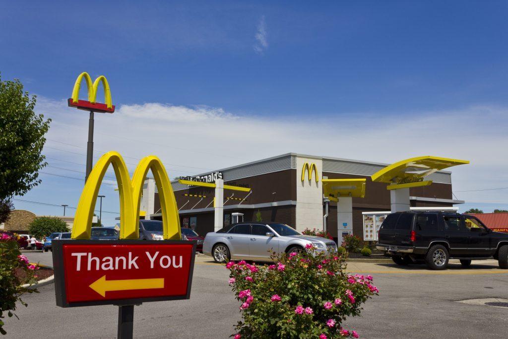 Indianapolis - Circa July 2016: McDonald's Restaurant Location. McDonald's is a Chain of Hamburger Restaurants V