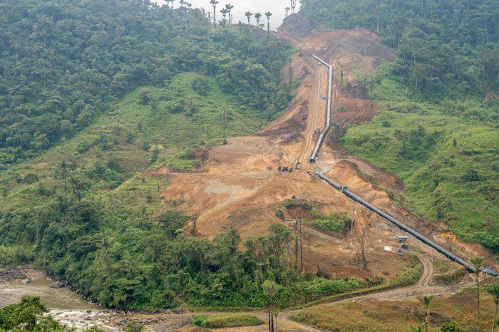 Rio Abanico hydrolectric power generation project under construction in the Ecuadorian Amazon, Morona Santiago province.