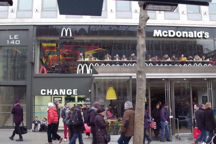 PARIS, FRANCE - DECEMBER, 31, 2016. McDonald's restaurant on famous French Champs-Elysees street