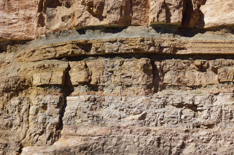 Detail, geological layers of sedimentary rock, exposed along the highway, Salt River Canyon, Arizona