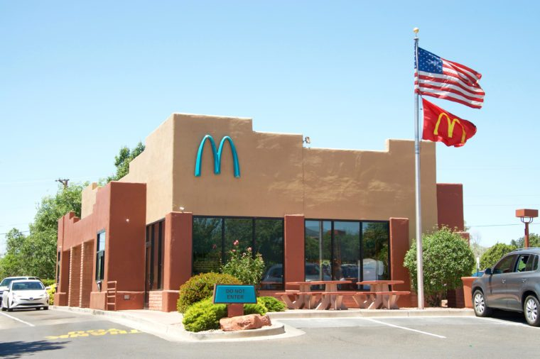 Sedona, AZ - May 13, 2017: McDonald's in Sedona, AZ is the only one in the world with turquoise arches. City officials said to feel the yellow would contrasting too much against the scenic red rock.