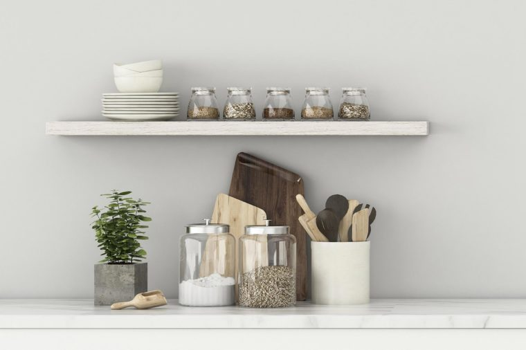 Kitchen space in house.White room with counter bar . scandinavian interior design. -3d rendering