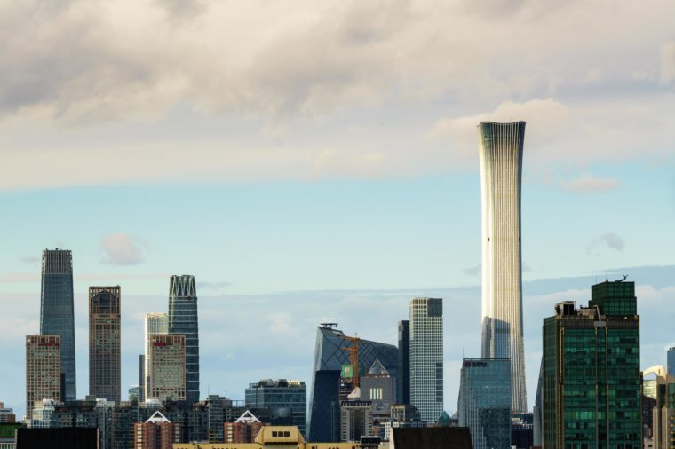 Beijing CBD skyline panorama, business center area map