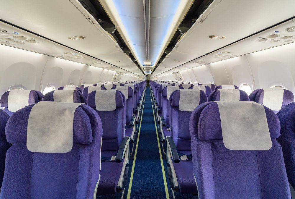 Empty passenger airplane seats in the cabin