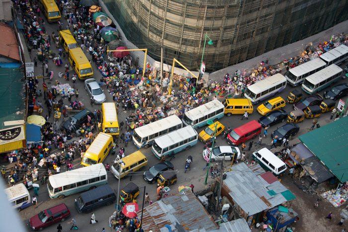 BUSY NIGERIAN MARKET LAGOS, NIGERIA
