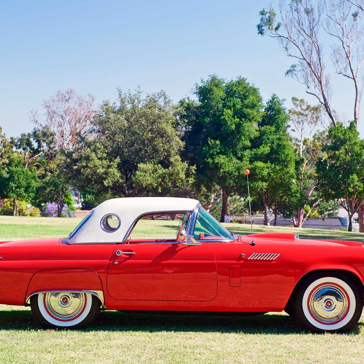 Classic Ford Thunderbird parked at a gathering of like minded classic car enthusiasts at a park in Fullerton, California