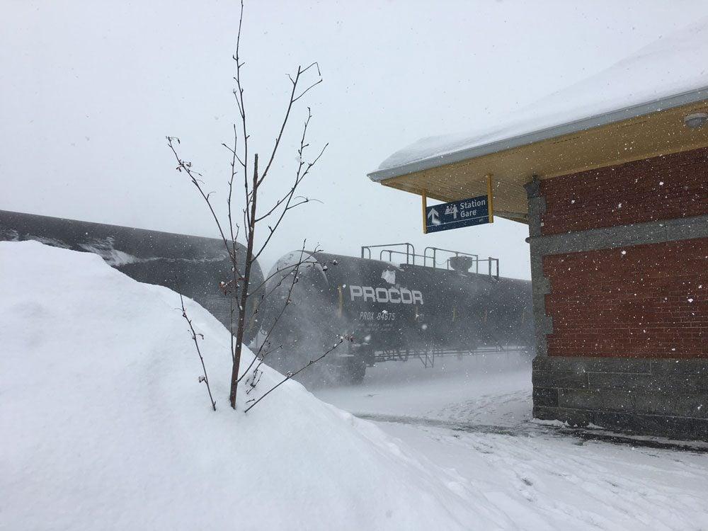snowy train in cobourg