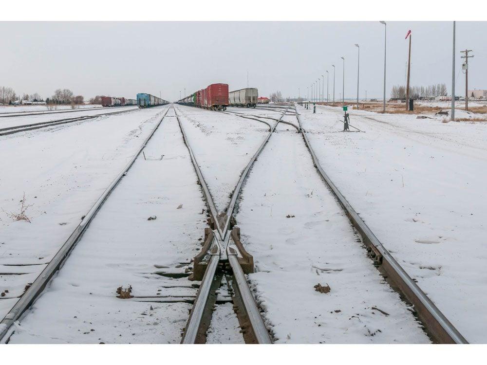 snowy train yard