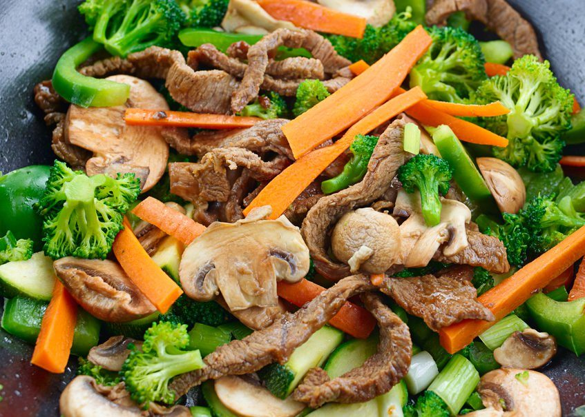 overhead view of colorful stir fry