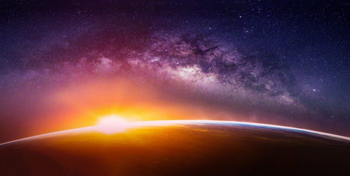 science quiz questions - Landscape with Milky way galaxy. Sunrise and Earth view from space with Milky way galaxy. (Elements of this image furnished by NASA)