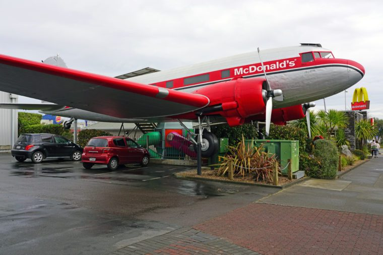 TAUPO, NEW ZEALAND- 2 AUG 2018- View of the McDonald's restaurant with a real vintage DC3 airplane named the world's coolest McDonalds in Taupo in the North Island, New Zealand.