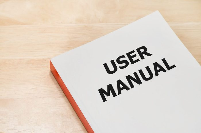 User manual book on the table
