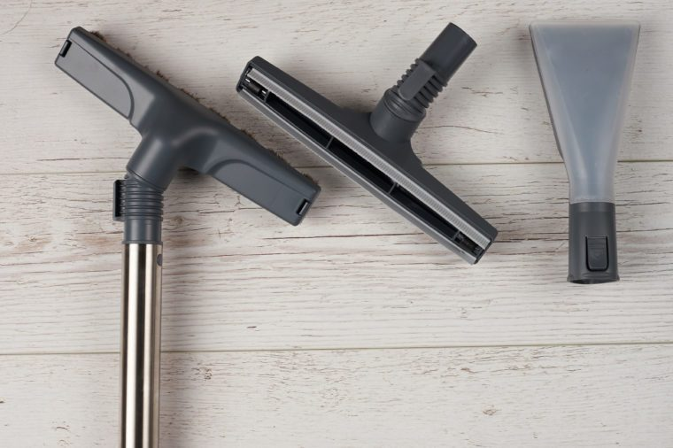 Washing tools for floor. Vacuum cleaner tools above top view